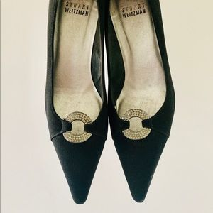 Stuart Weitzman | Black Jeweled Pointed toe Heel